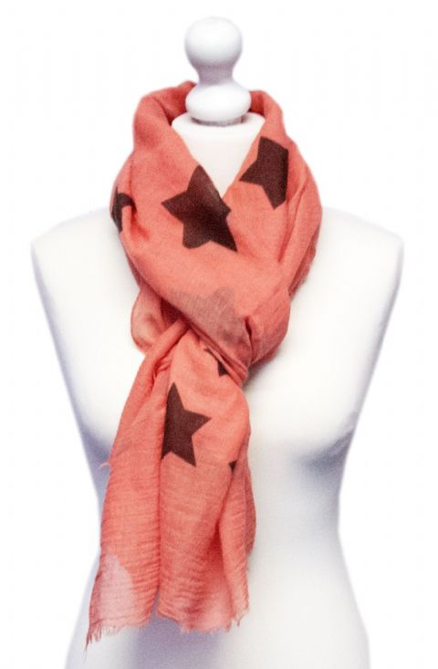 Believe -  Large Silky Touch Star Printed Scarf (Peach)